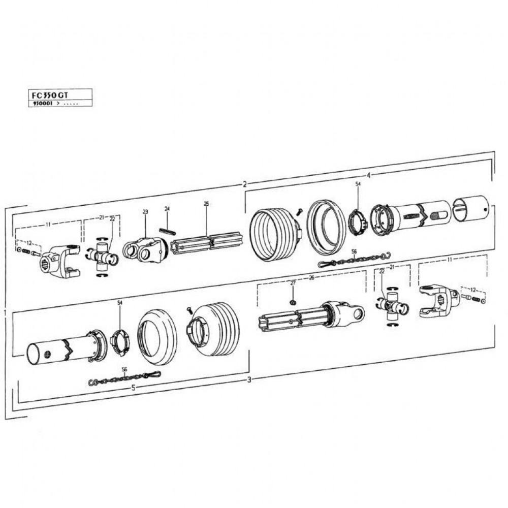 29 Tussen-aftakas passend voor KUHN FC350GT