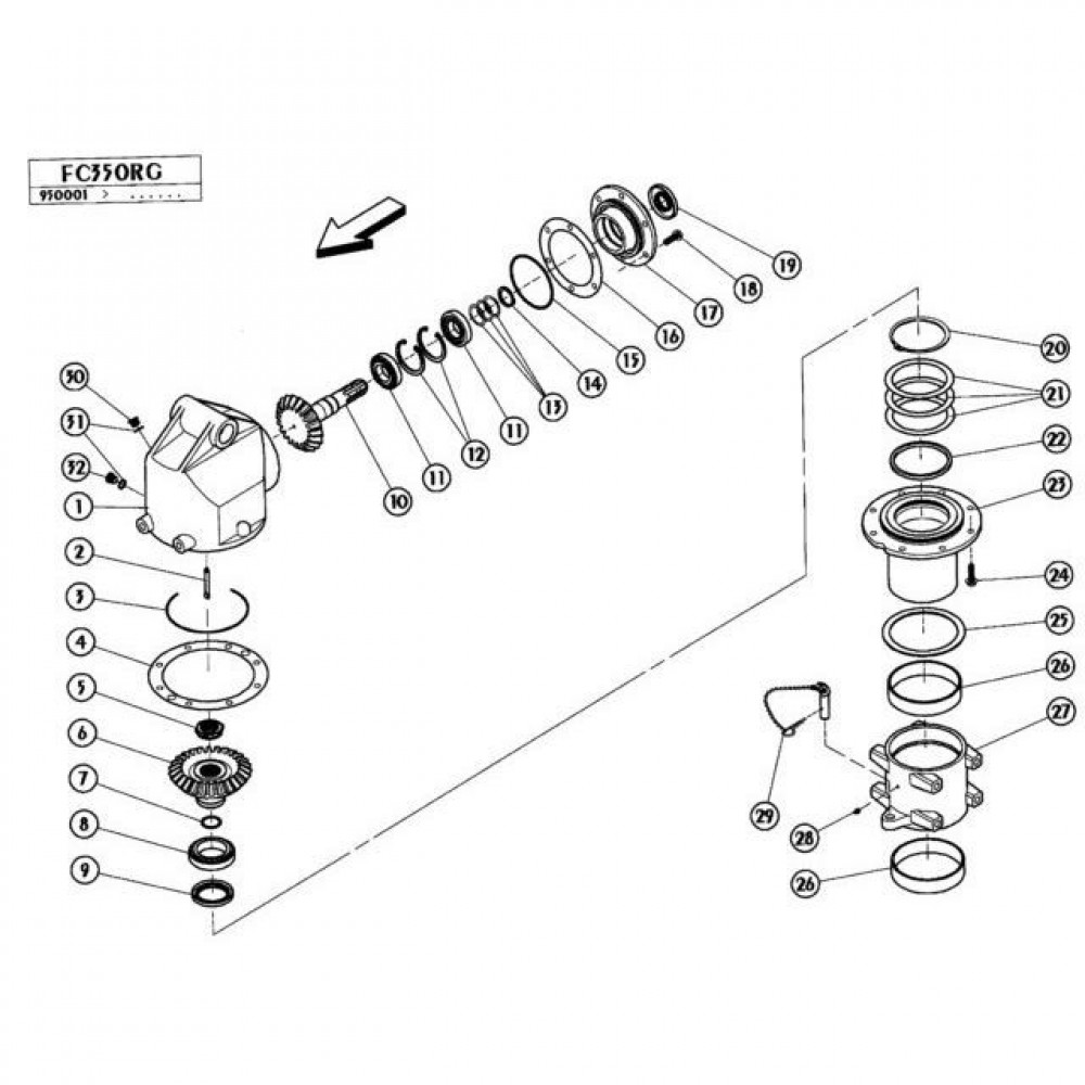 02 Gyrodine tandwielkast, boven passend voor KUHN FC350RG