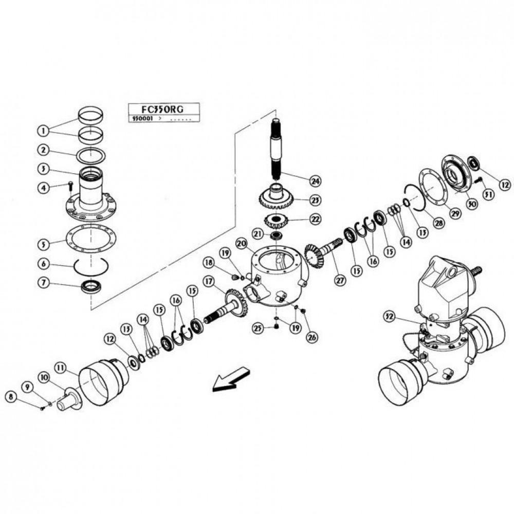 03 Gyrodine tandwielkast, onder passend voor KUHN FC350RG