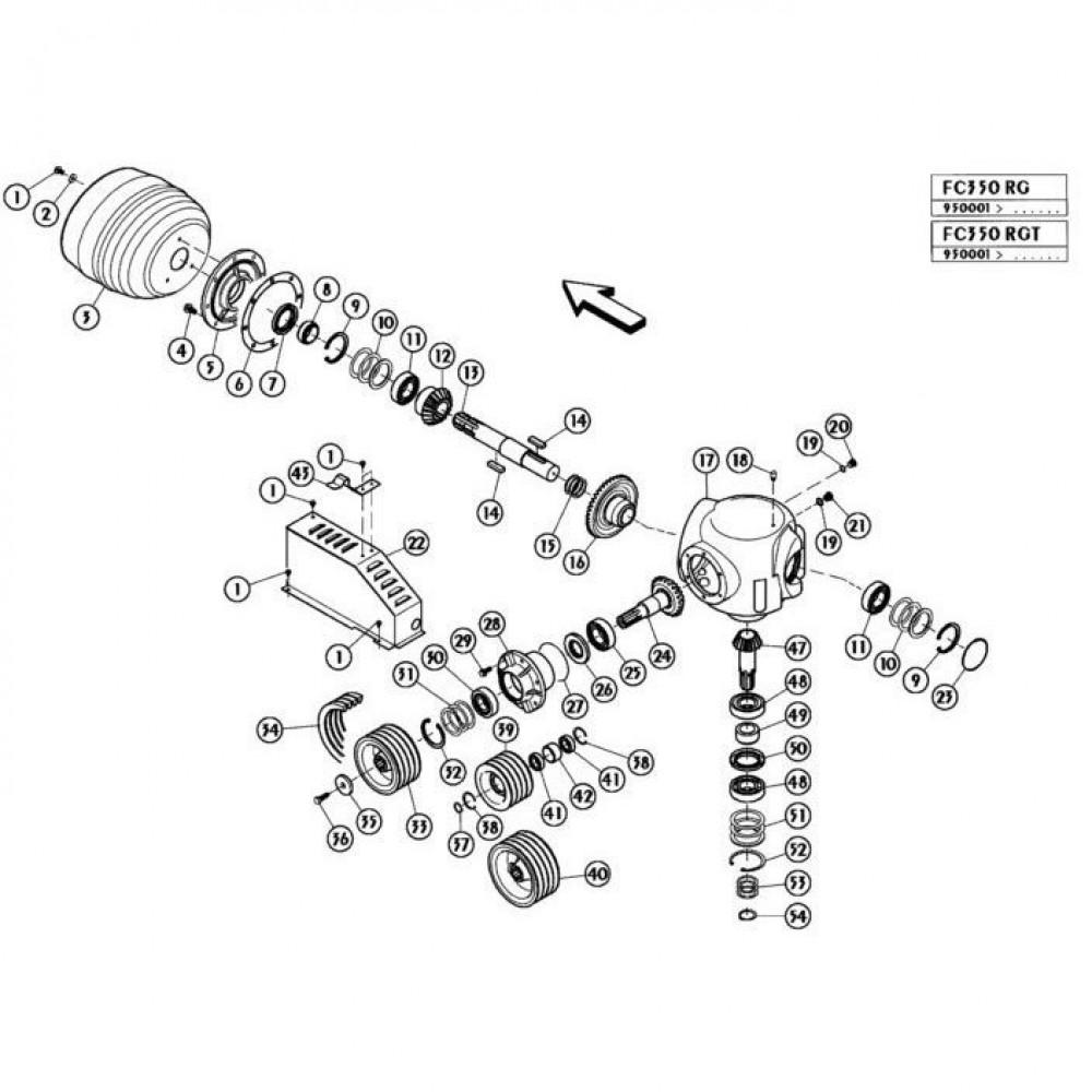 06 Haakse tandwielkast passend voor KUHN FC350RG