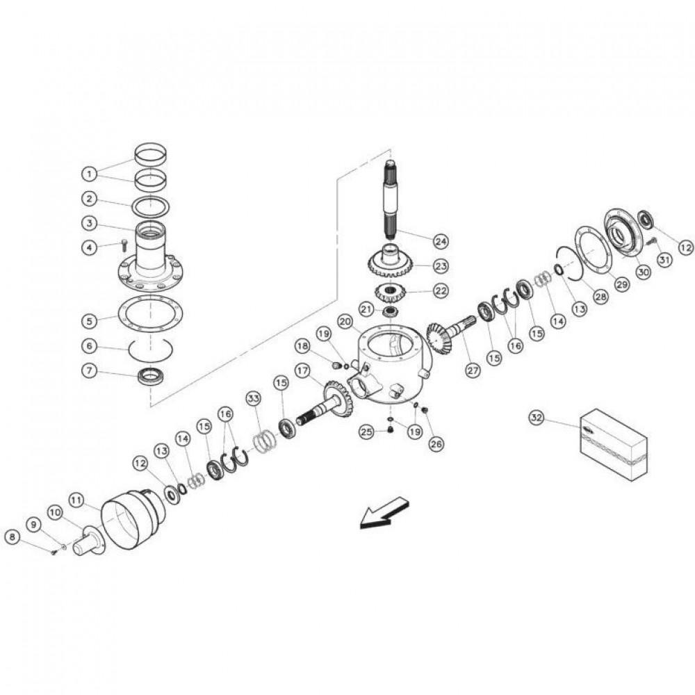 04 Gyrodine tandwielkast, onder passend voor KUHN FC350RG