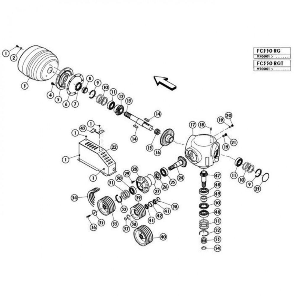 05 Haakse tandwielkast passend voor KUHN FC350RGT