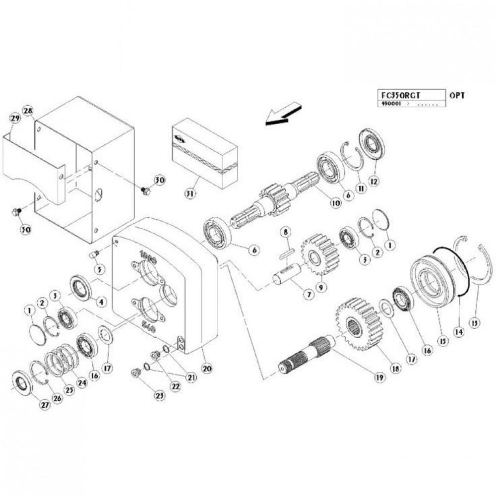 20 Dubbele tandwielkast passend voor KUHN FC350RGT