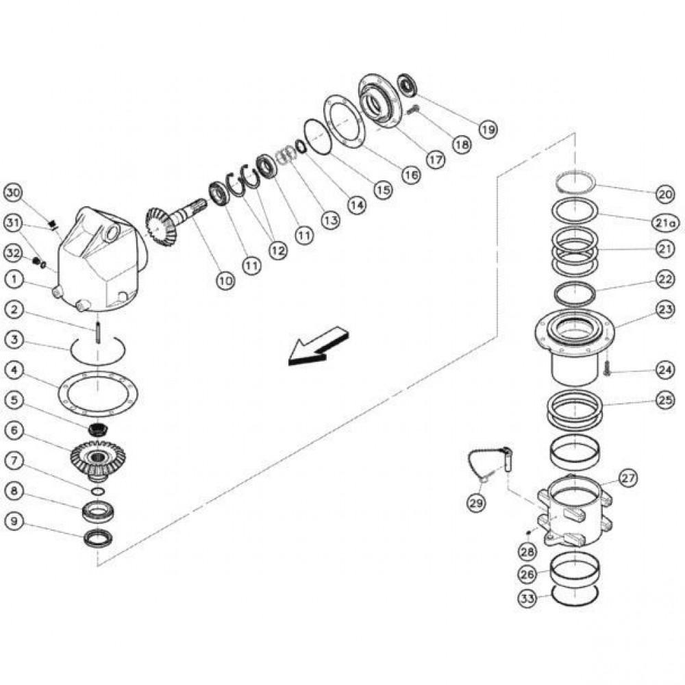 04 Gyrodine tandwielkast, boven passend voor KUHN FC352G