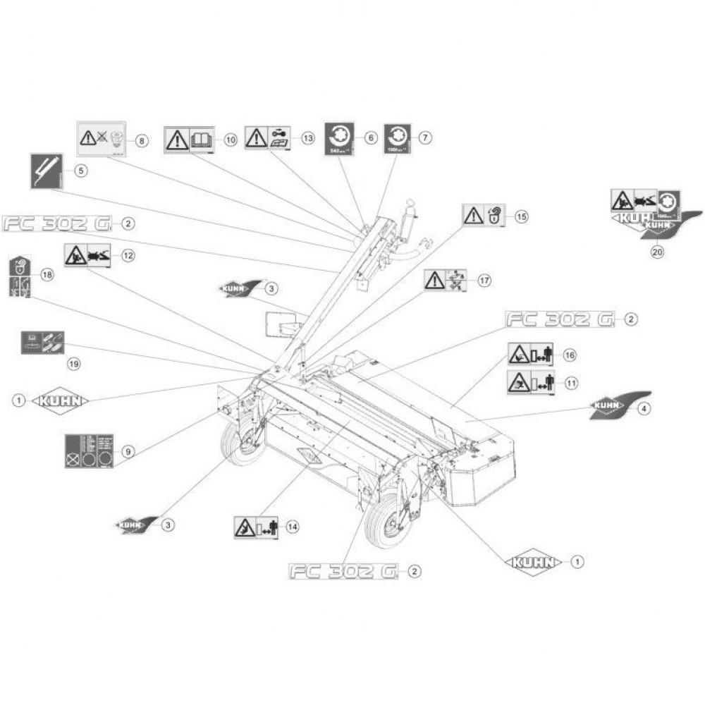 30 Set stickers passend voor KUHN FC352G