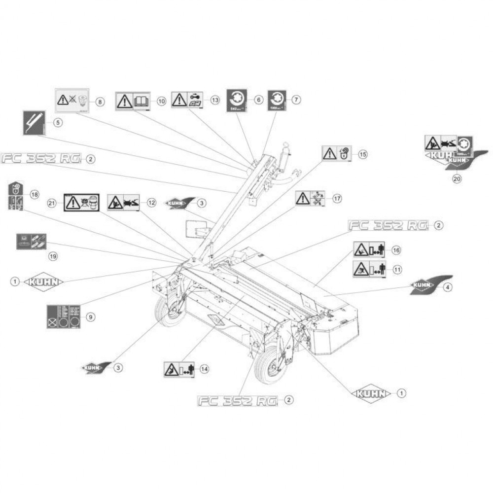 21 Set stickers passend voor KUHN FC352RG 2