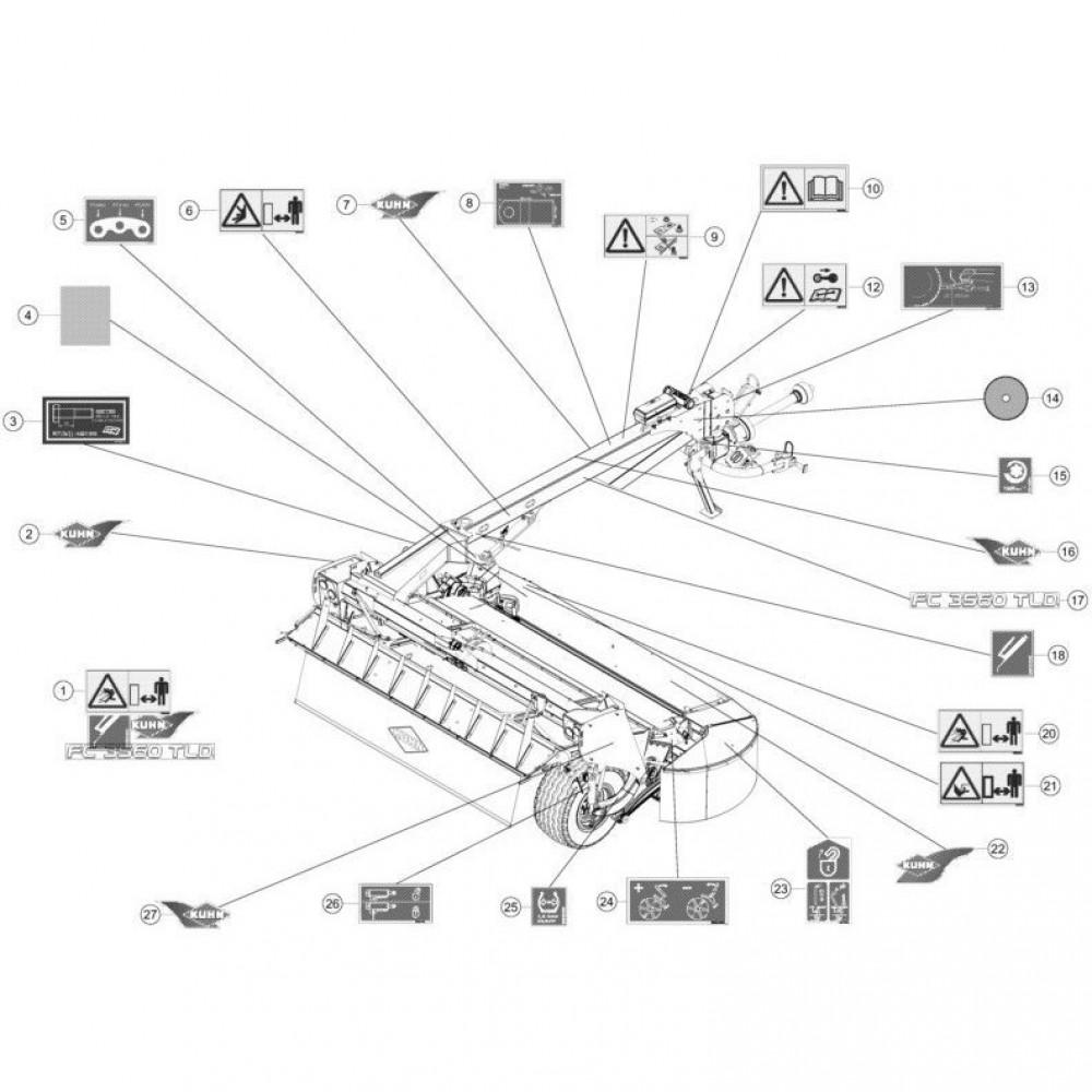 22 Set stickers passend voor KUHN FC3560TLD