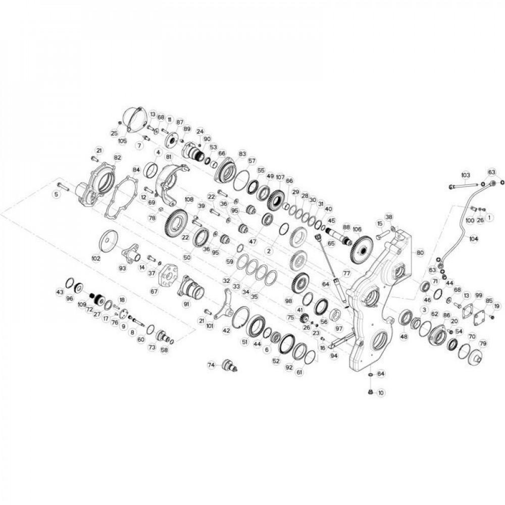 12 Tandwielkast, zijkant 3 passend voor KUHN FC3560TLR