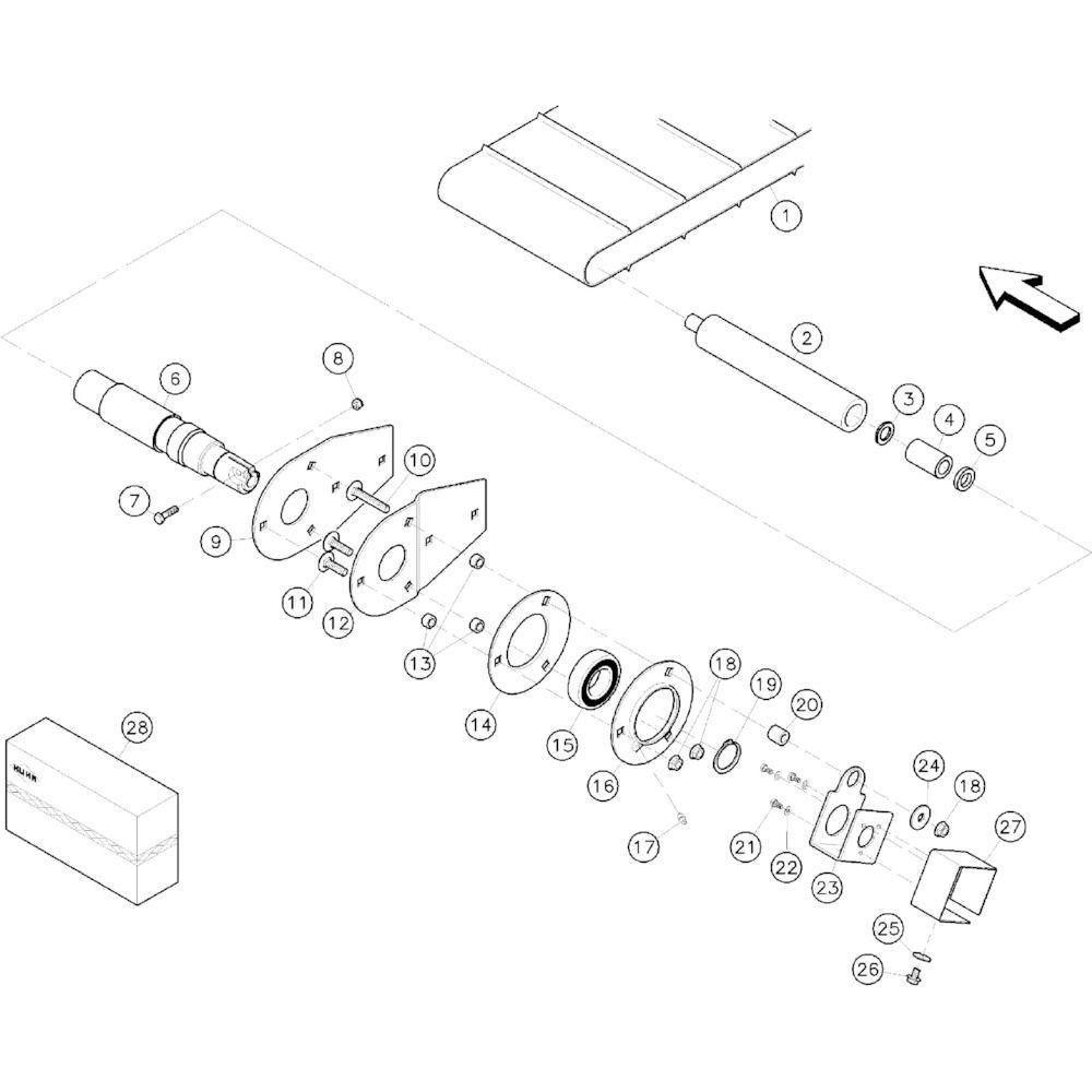 14 Canvas en aandrijfrol passend voor KUHN RA-FA250GT-RGT