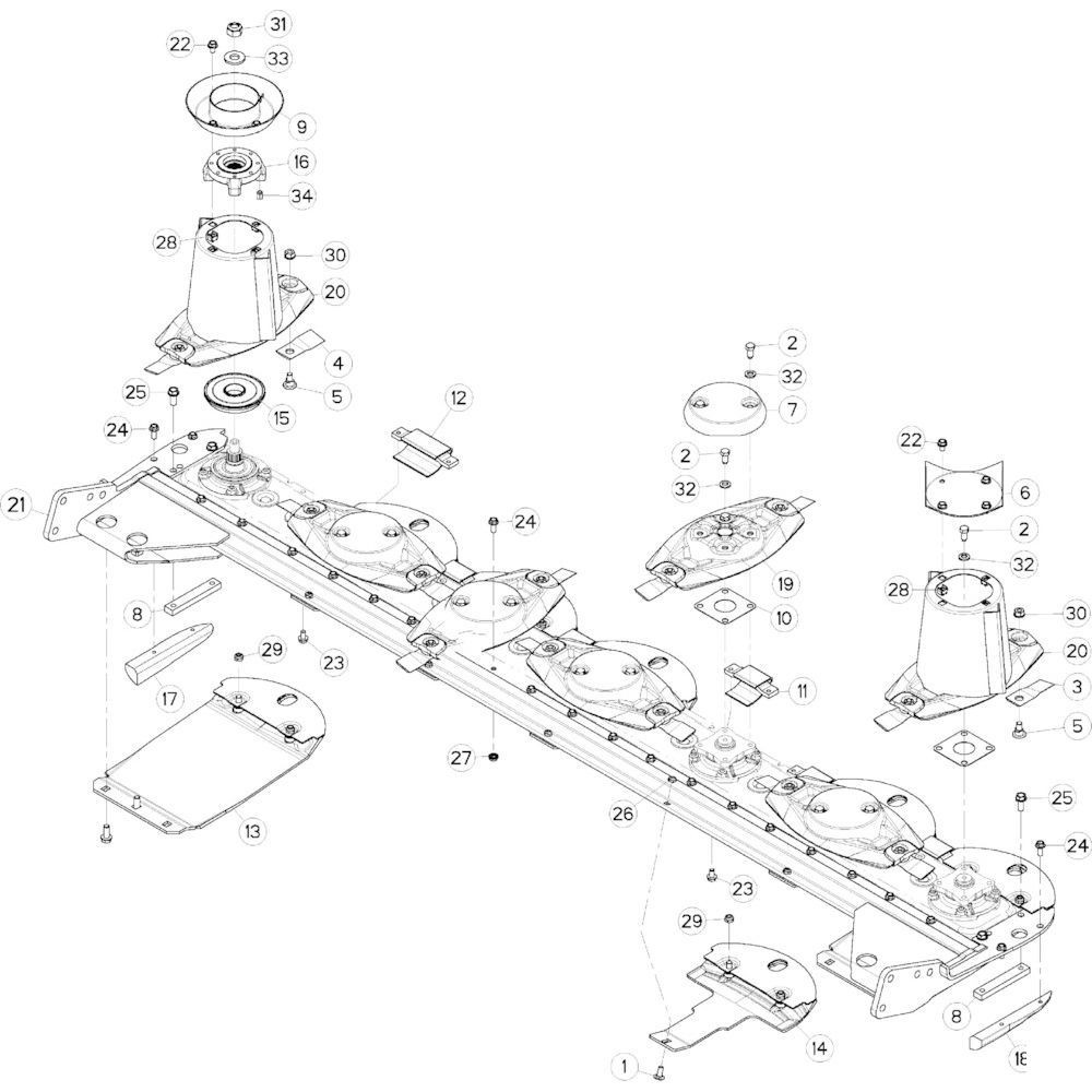 12 Schijf-schijf, bescherming glijplaatschoen passend voor KUHN GMD283TGNA