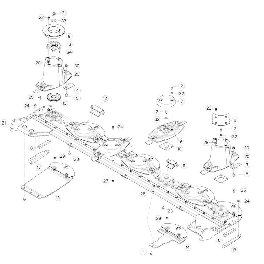 15 Schijf-schijfbescherming-glijplaatschoen passend voor KUHN GMD283TGNA