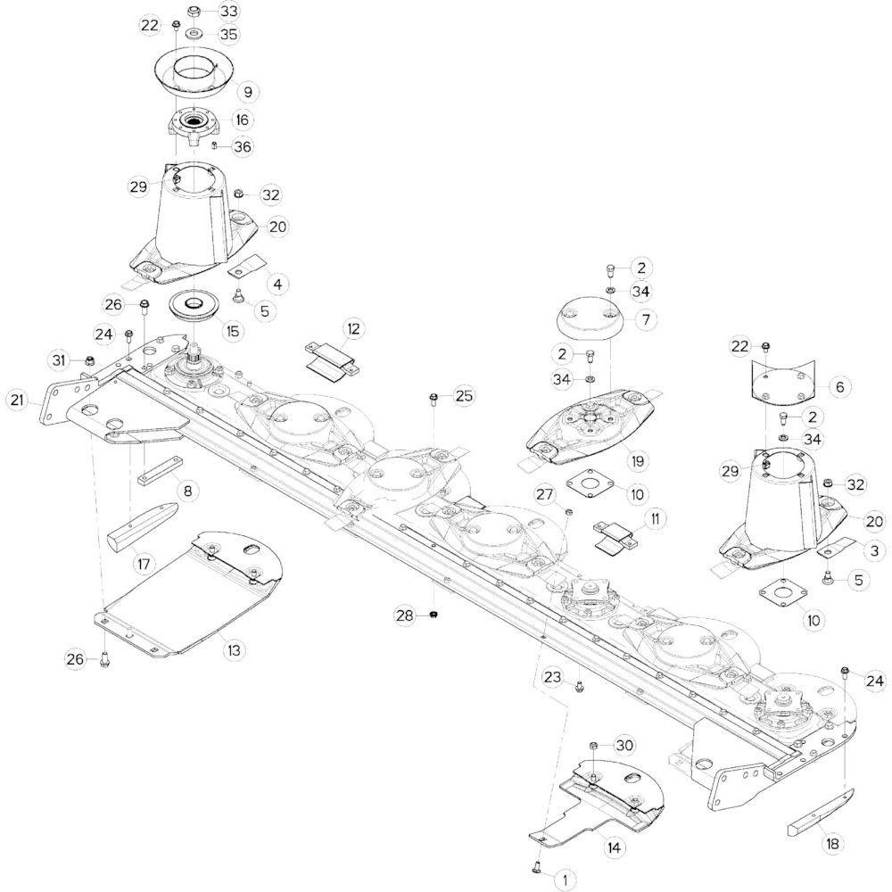 16 Schijf-schijfbescherming-glijplaatschoen passend voor KUHN GMD283TGNA
