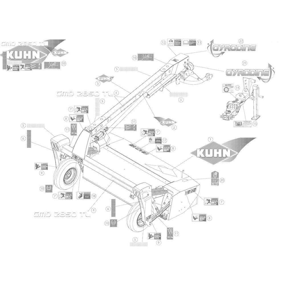 15 Set stickers 2850 passend voor KUHN GMD2850TL