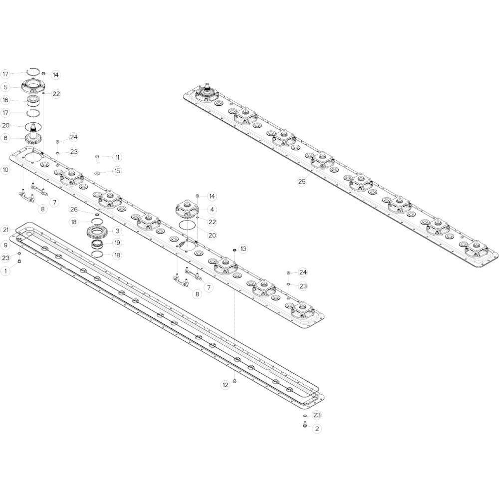 15 Maaibalk tandwielkast, rechts passend voor KUHN GMD313TG