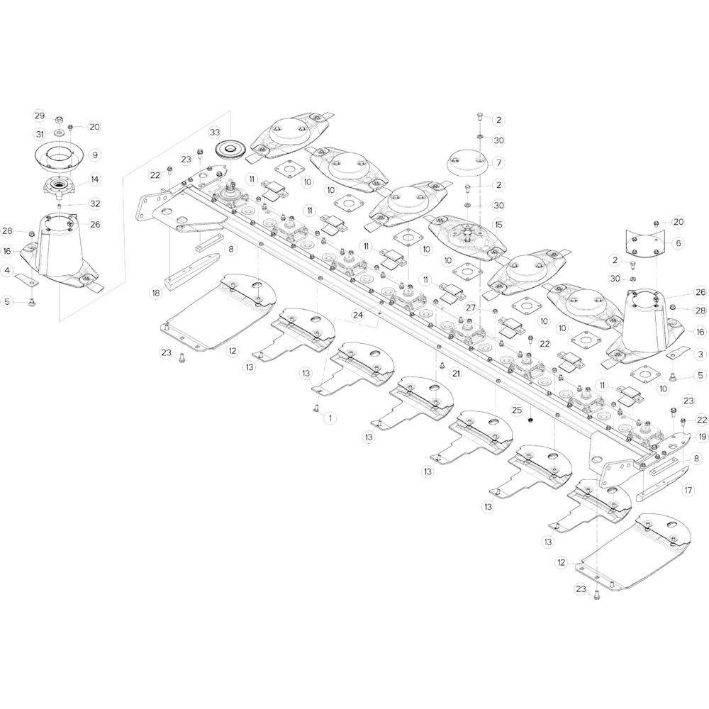 12 Schijven, beschermingen en glijplaten passend voor KUHN GMD313TGNA