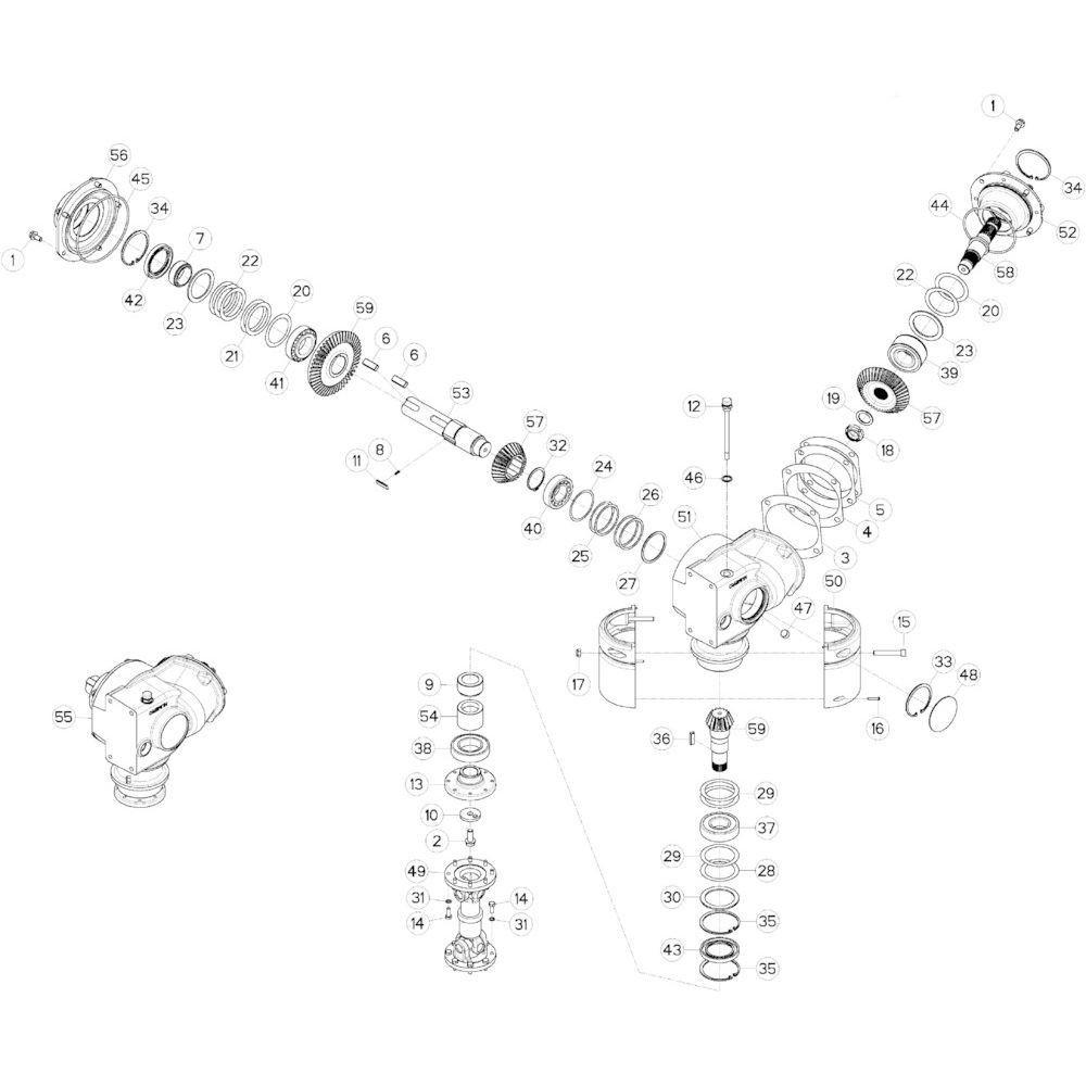 14 Conische tandwielkast 2 passend voor KUHN GMD313TGNA