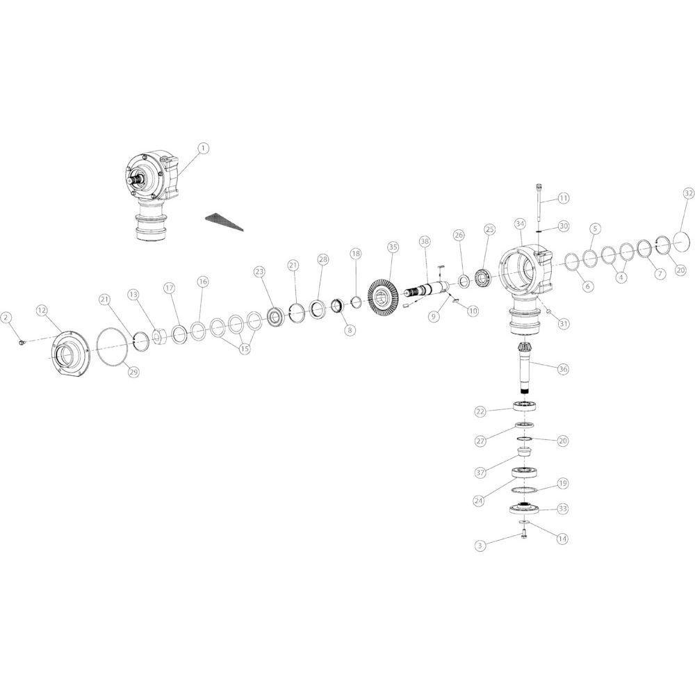 08 Conische tandwielkast passend voor KUHN GMD3150TL