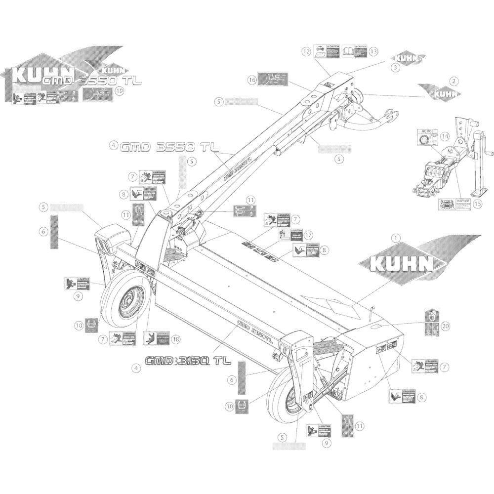 13 Set stickers 3150 passend voor KUHN GMD3150TL