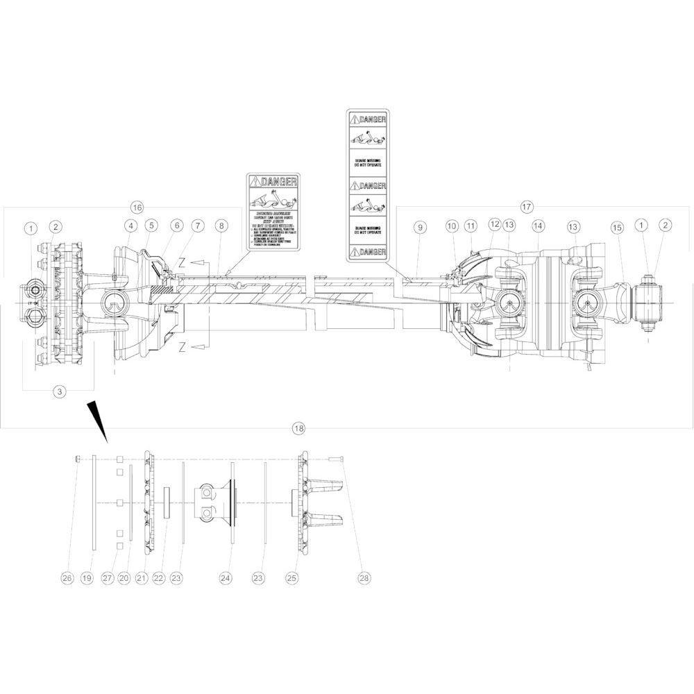 17 Aftakas CV secundair passend voor KUHN GMD3150TL