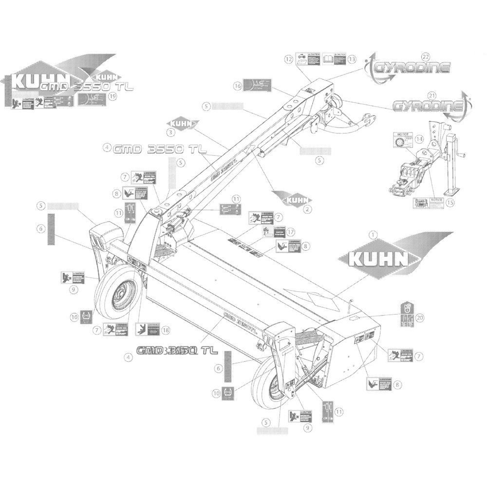 15 Set stickers 3150 passend voor KUHN GMD3150TL