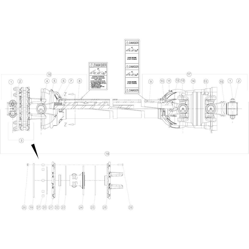 18 Aftakas secundair passend voor KUHN GMD3150TL