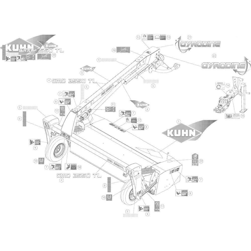 15 Set stickers 3550 passend voor KUHN GMD3550TL