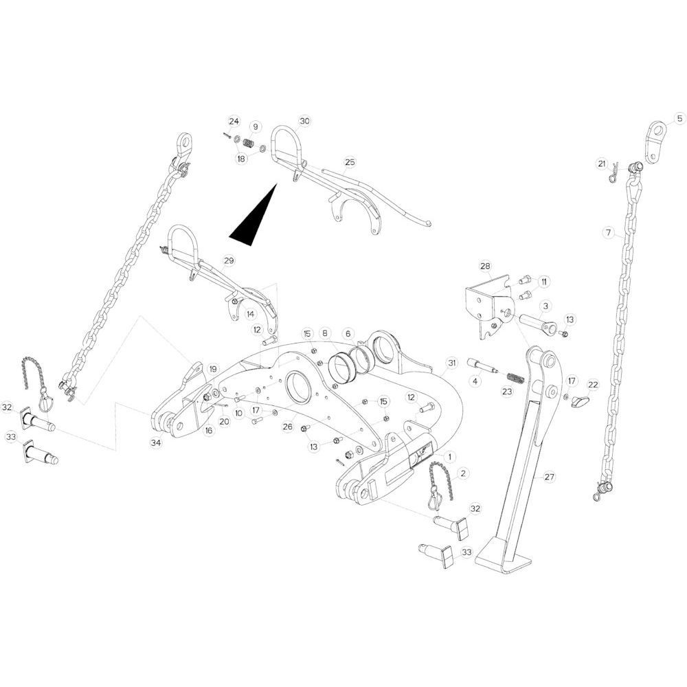 02 Gyrodine trekstangkoppeling passend voor KUHN GMD3550TL