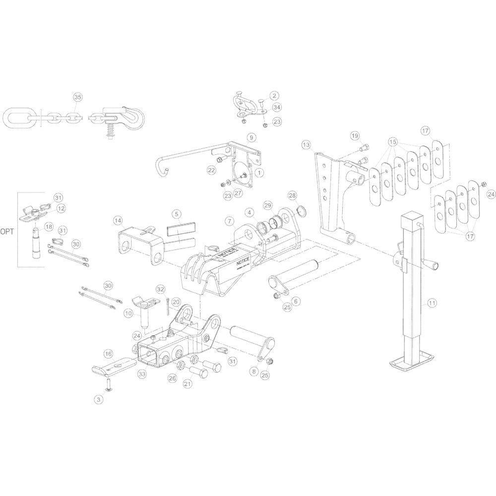 02 Gyrodine koppeling trekstang passend voor Kuhn GMD3550TL