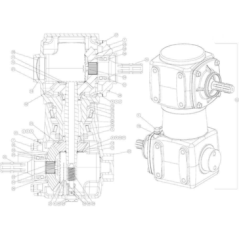 04 Gyrodine tandwielkast passend voor KUHN GMD4050TL