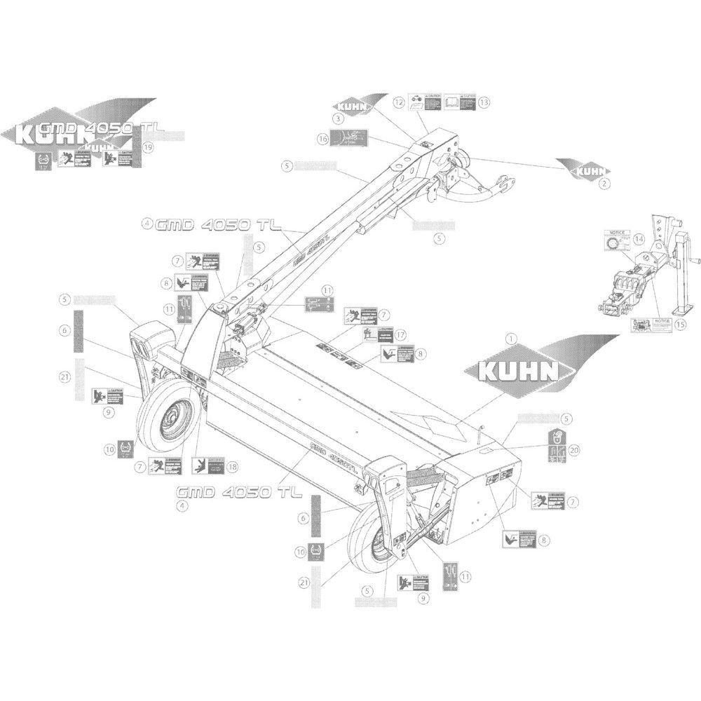 14 Set stickers passend voor KUHN GMD4050TL