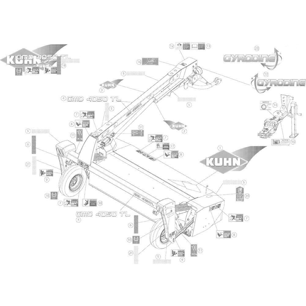15 Set stickers passend voor Kuhn GMD4050TL