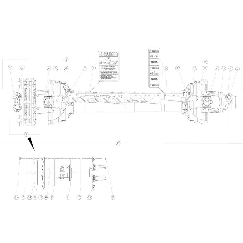 19 Aftakas secundair passend voor KUHN GMD4050TL