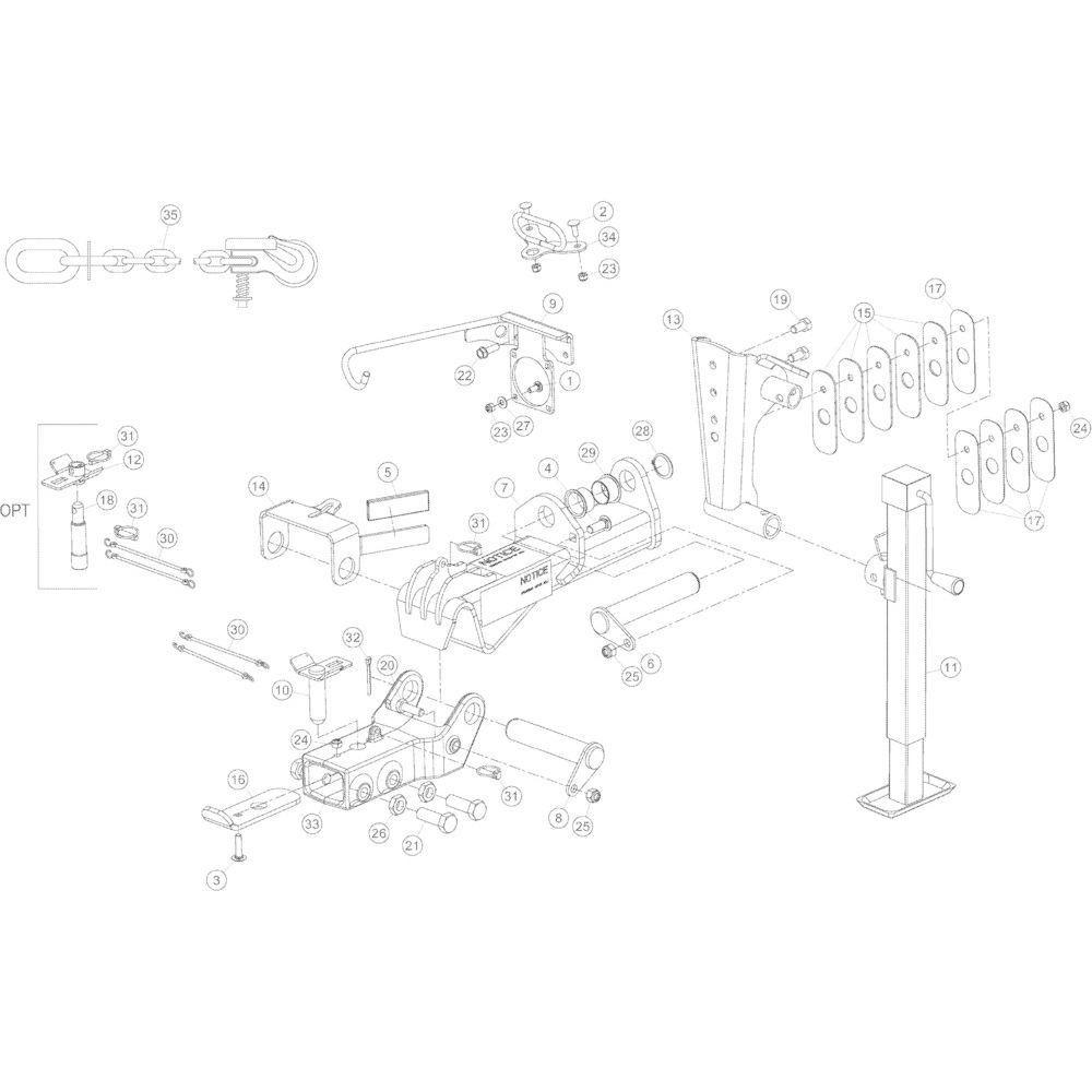 01 Trekstangkoppeling passend voor KUHN GMD5251TCNA
