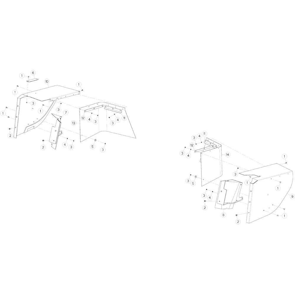 14 Beschermingen, lateraal passend voor KUHN GMD5251TCNA