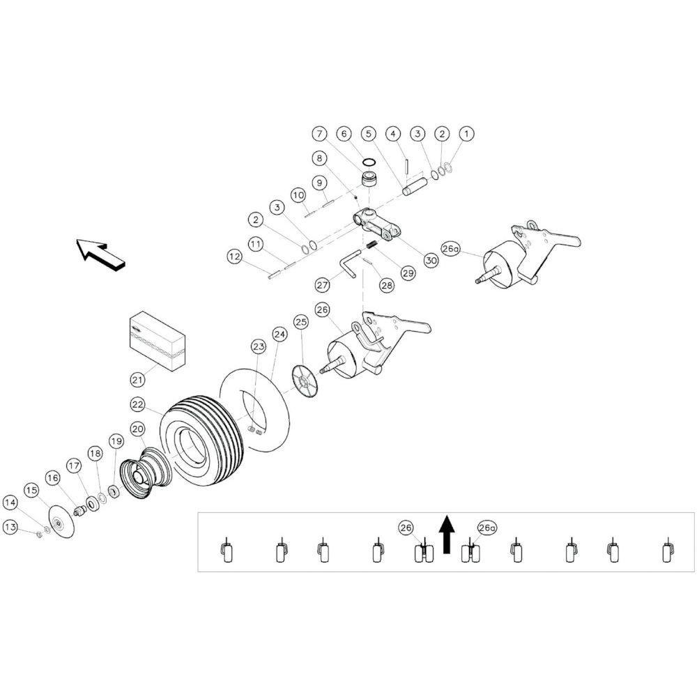 16 Centrale wielen 1 passend voor KUHN GF10601TO