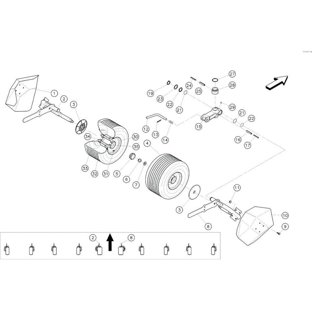 17 Centrale wielen 2 passend voor KUHN GF10601TO