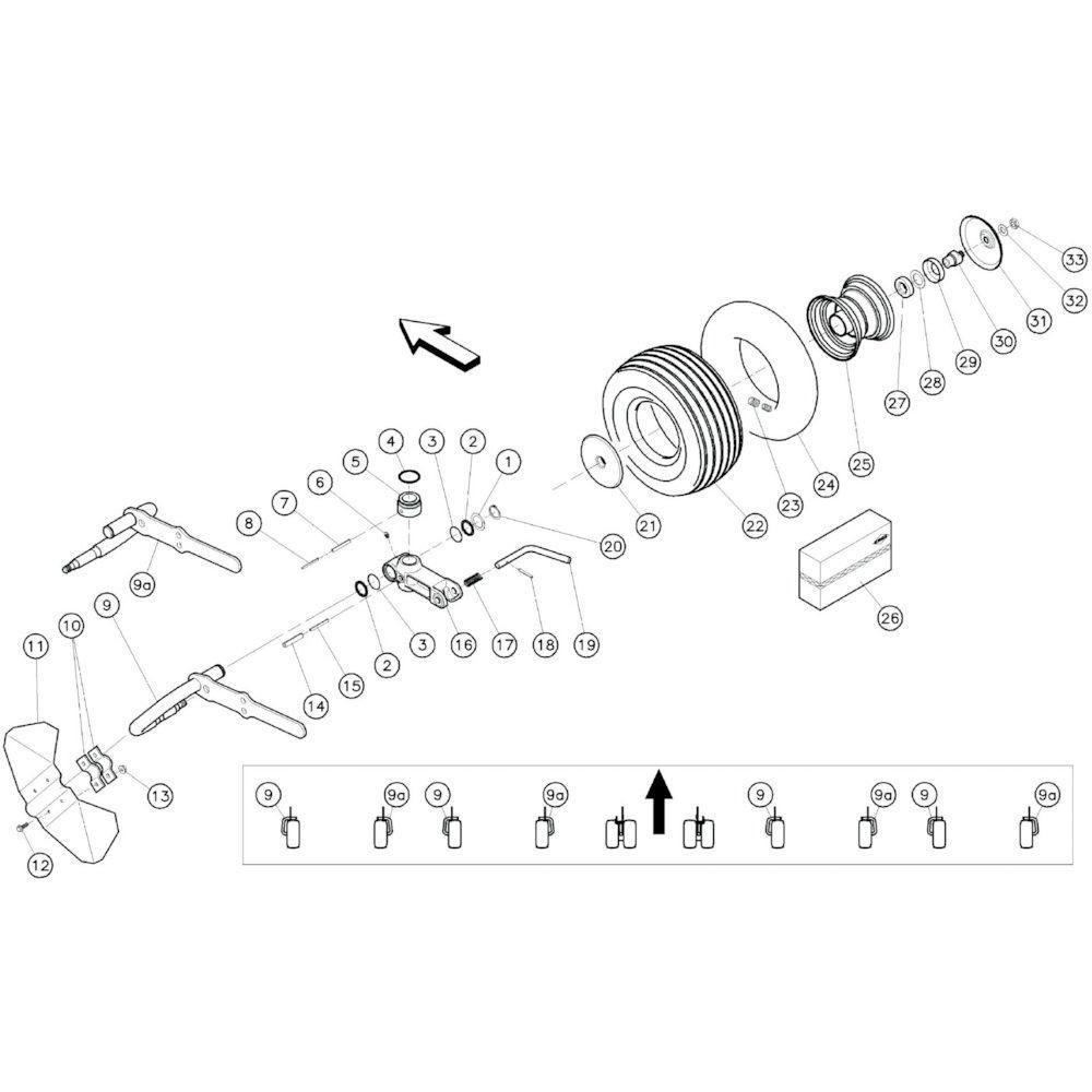18 Buitenste wielen 1 passend voor KUHN GF10601TO