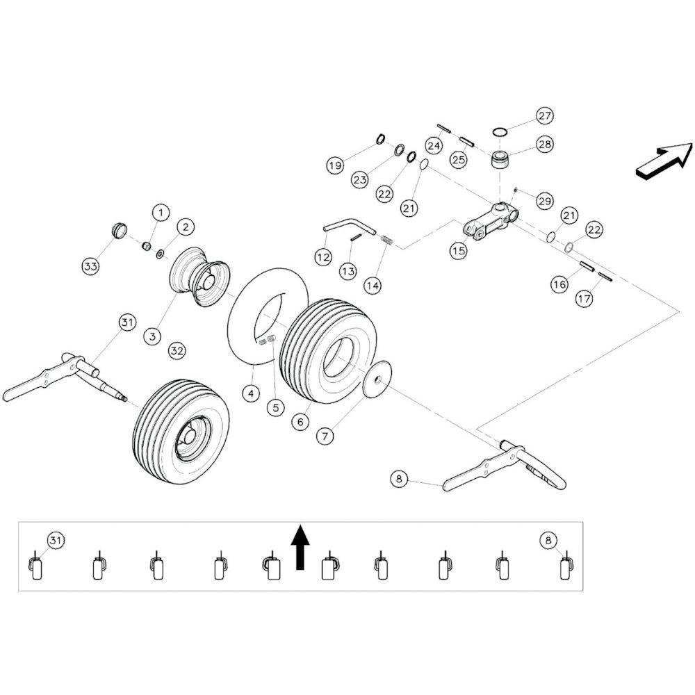 20 Buitenste wielen 2 passend voor KUHN GF10601TO
