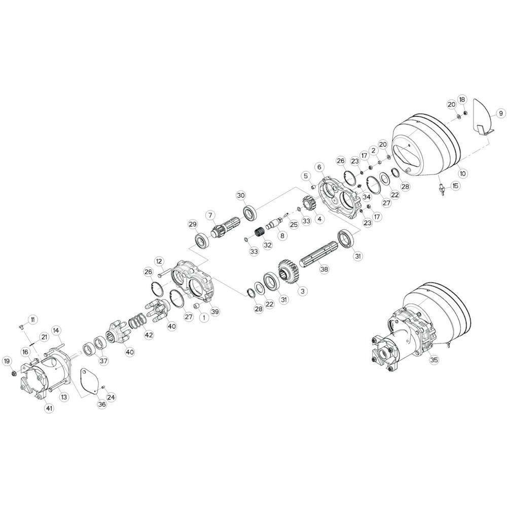 103 Dubbele tandwielkast passend voor KUHN GF10802T
