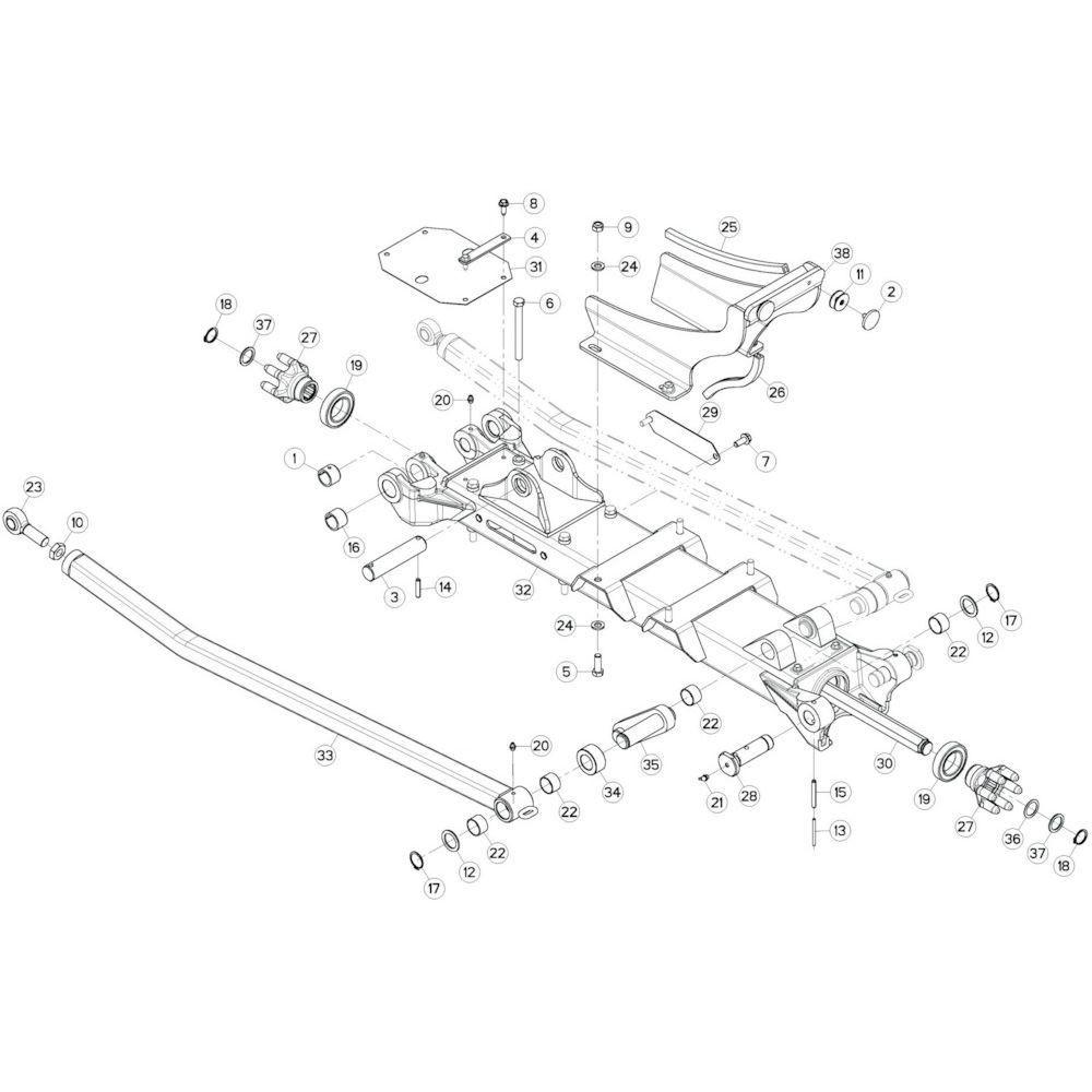34 Tussenwing 1, links 2 passend voor KUHN GF10802T