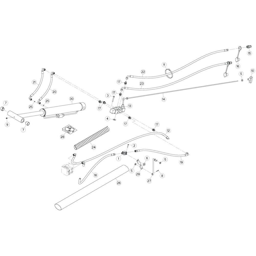54 Hydrauliek, voorzijde 3 passend voor KUHN GF10802T