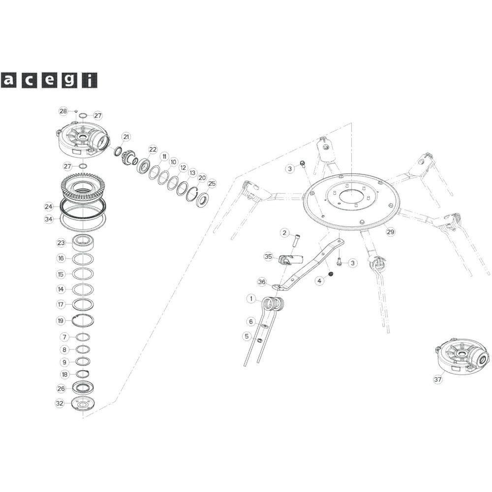 65 Rotor, rechts 1 passend voor KUHN GF10802T
