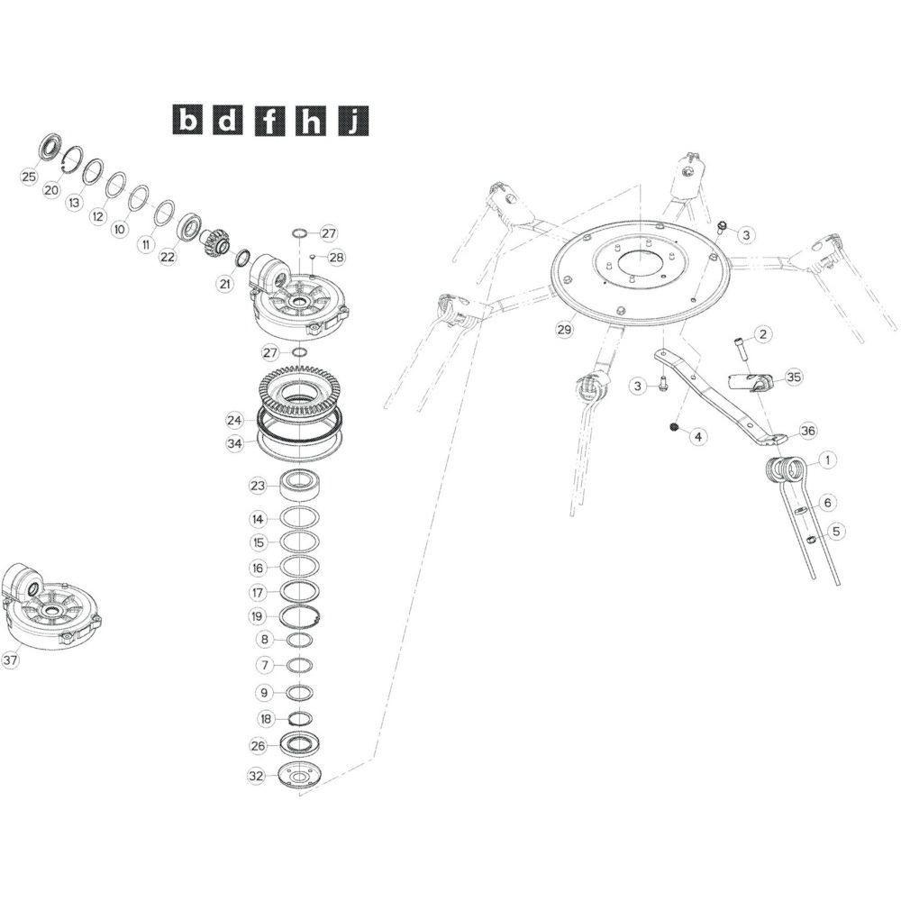 68 Rotor, links 1 passend voor KUHN GF10802T