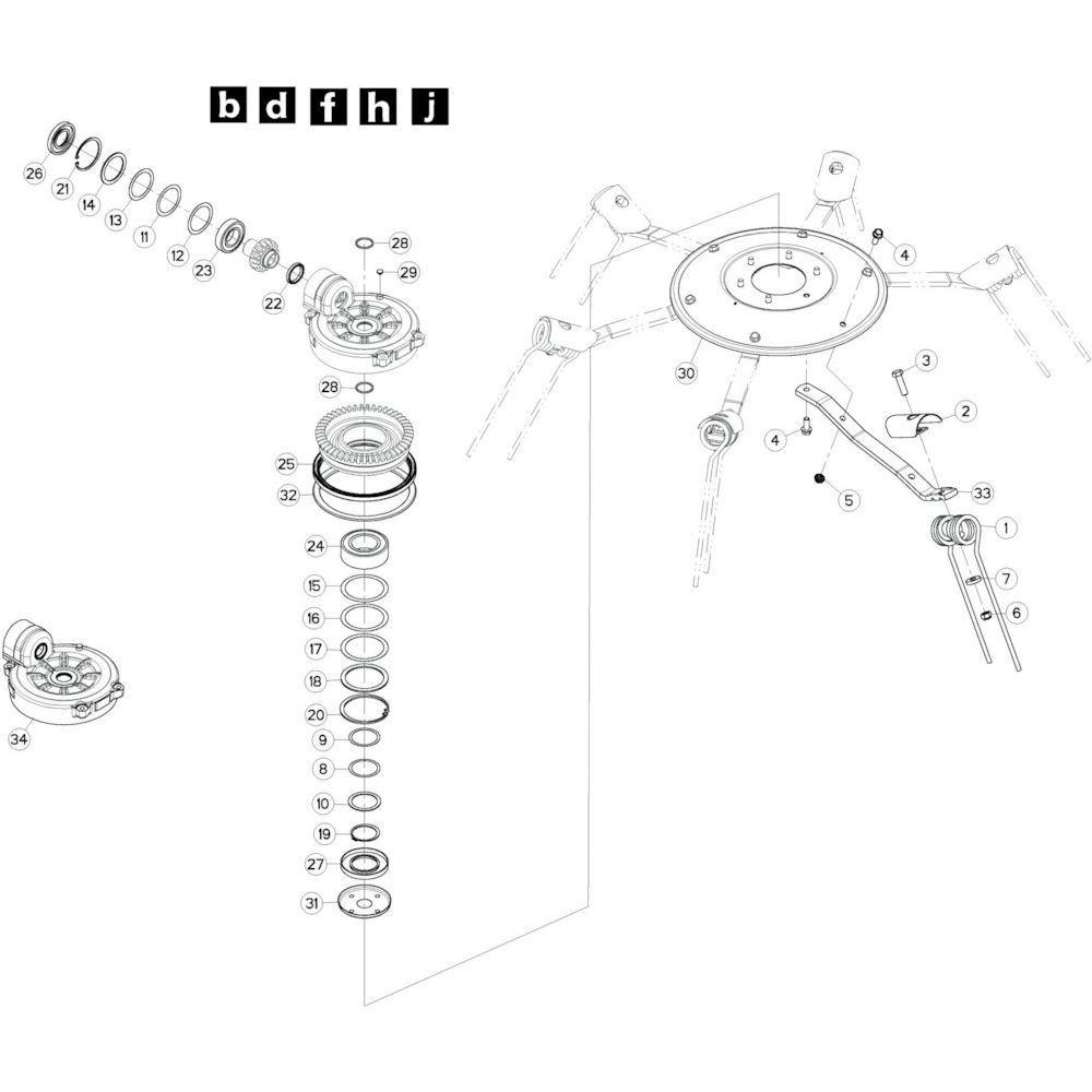 69 Rotor, links 2 passend voor KUHN GF10802T