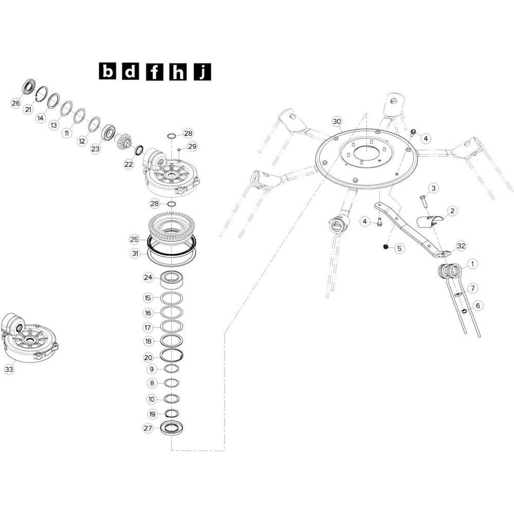 70 Rotor, links 3 passend voor KUHN GF10802T