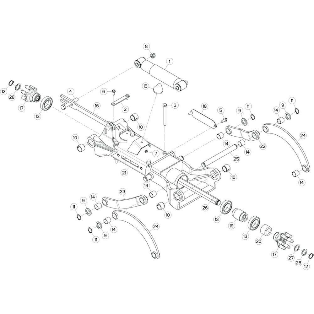 14 Tussenwing 3, links passend voor KUHN GF10802TGII