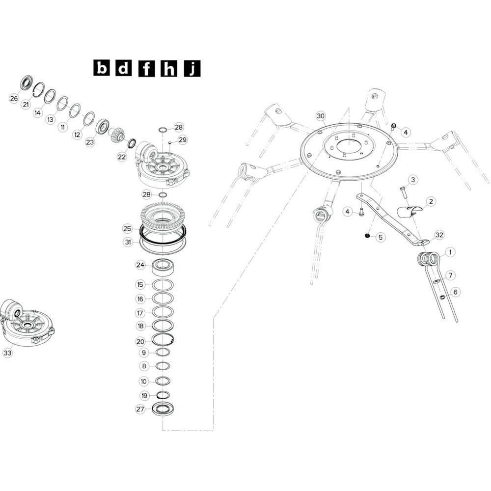 22 Rotor, links passend voor KUHN GF10802TGII