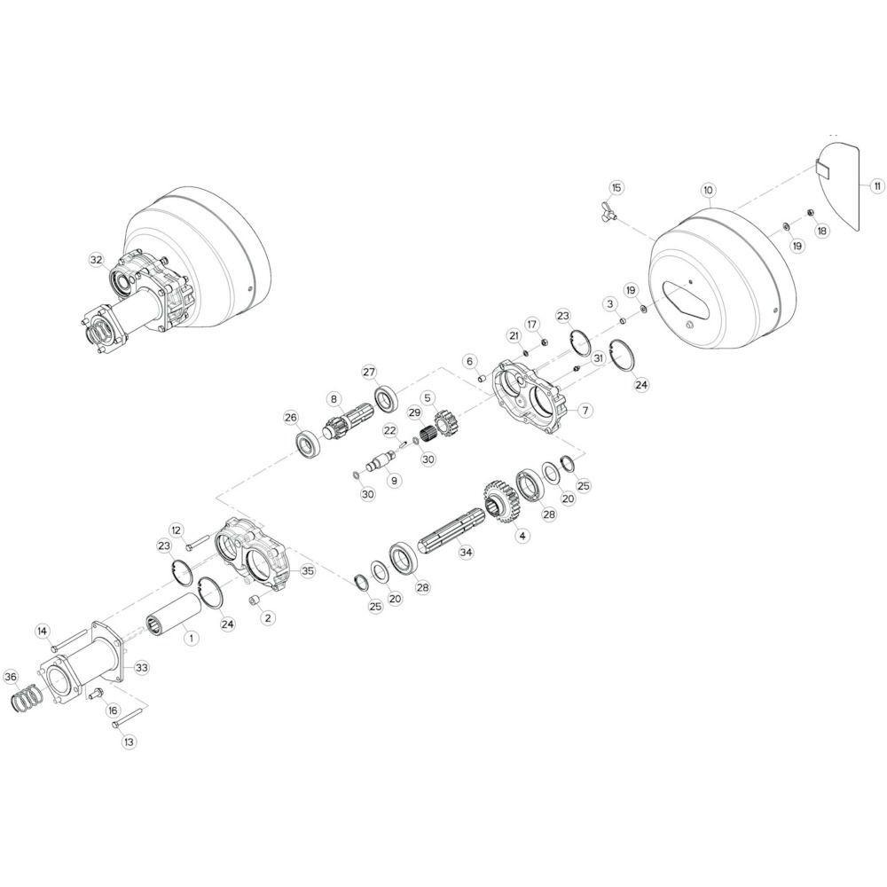 35 Dubbele tandwielkast passend voor KUHN GF10802TGII