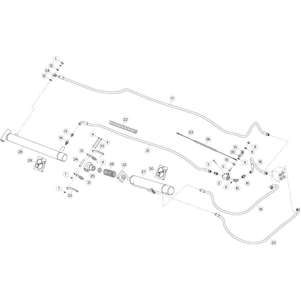 32 Hydrauliek, links 1 passend voor KUHN GF10802TGII