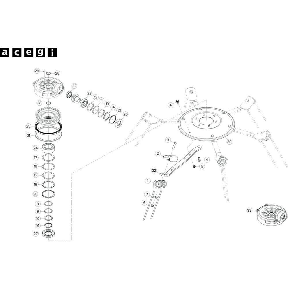 37 Rotor, rechts 3 passend voor KUHN GF10802TGII